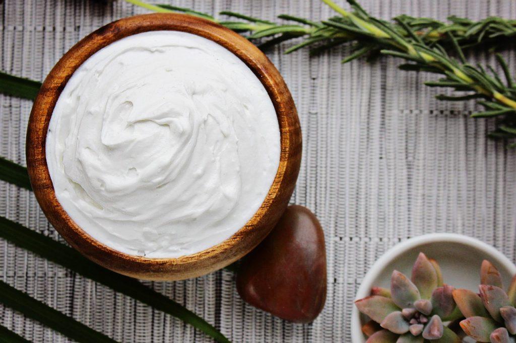heavy cream on table