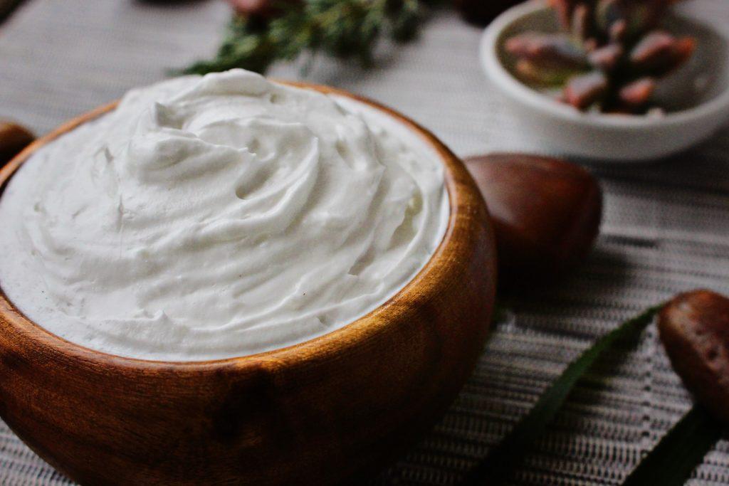 heavy cream close up