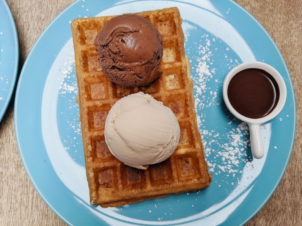 ice cream on a plate