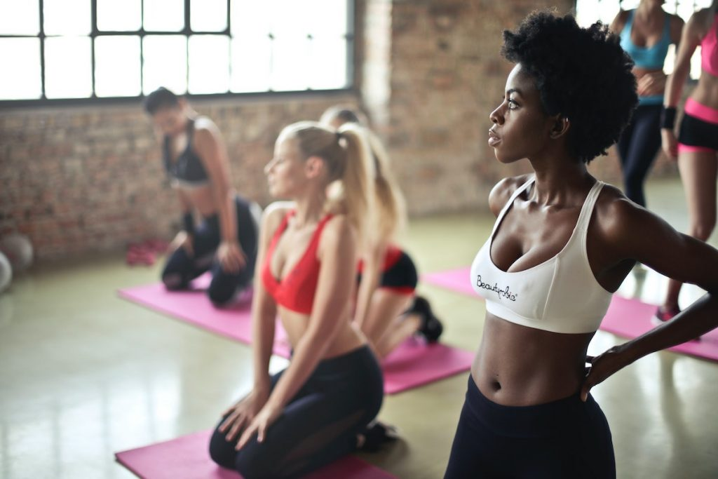women at a group exercise