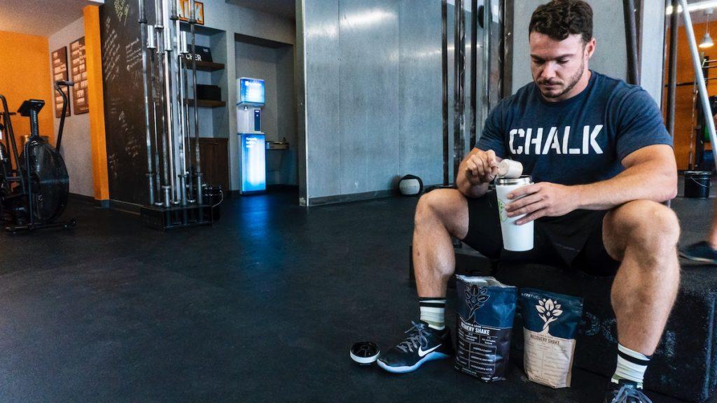 Man preparing his protein shake