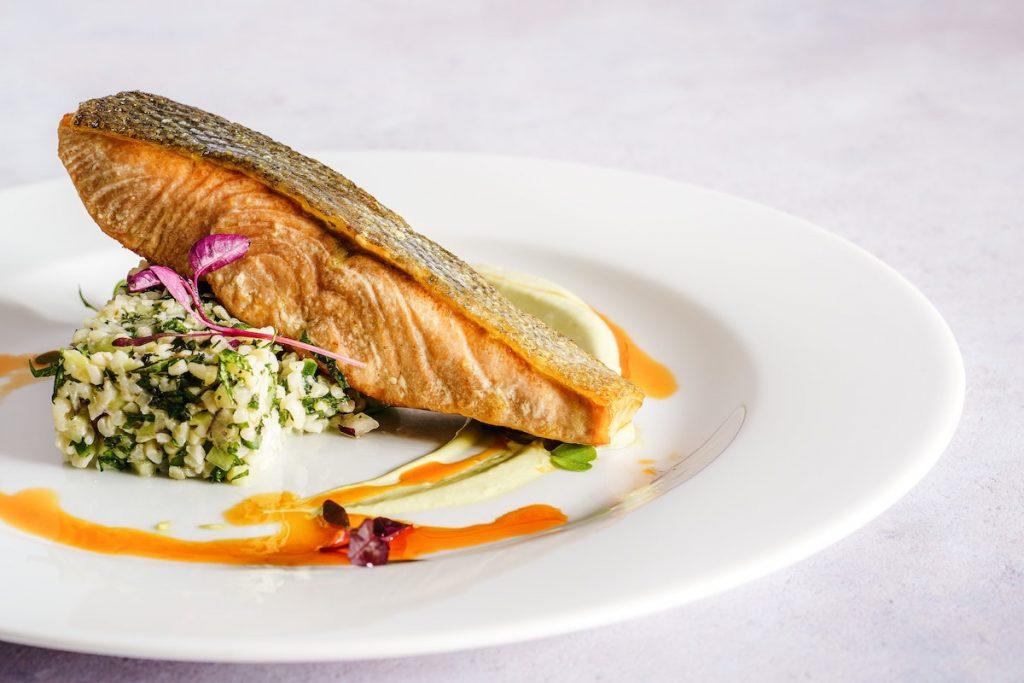 Beautifully plated pan-fried salmon